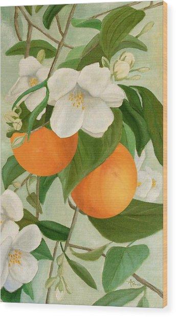 Branch Of Orange Tree In Bloom Wood Print
