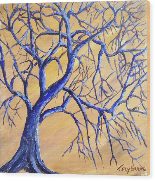 Branches Of Blue Wood Print