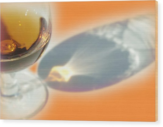 Brandy Glass Reflection Wood Print