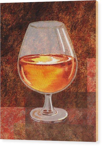 Brandy Snifter Wood Print