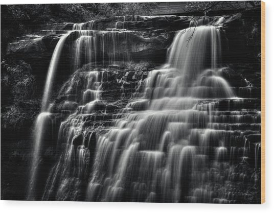 Brandywine Falls At Cuyahoga Valley National Park B W Wood Print
