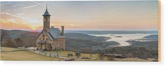 Branson Missouri Top Of The Rock Sunset Panorama Wood Print