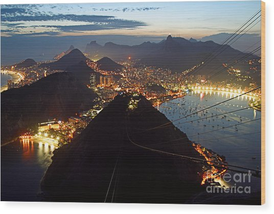 Wood Print featuring the photograph Brasil,rio De Janeiro,pao De Acucar,viewpoint,panoramic View,copacabana At Night by Juergen Held