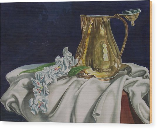 Brass And Flowers Wood Print by Arnold Hurley