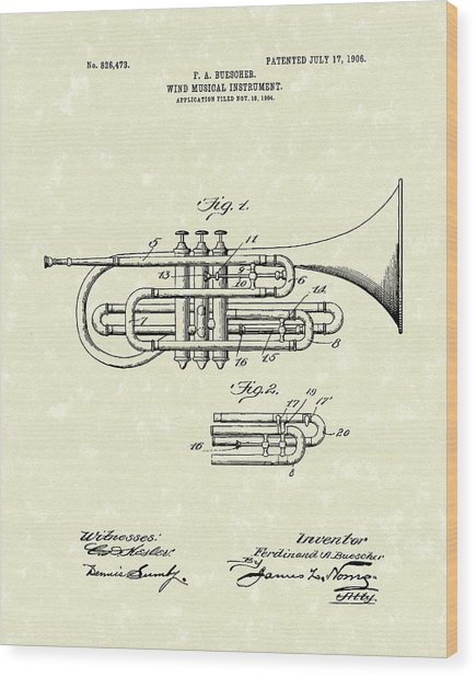 Brass Musical Instrument 1906 Patent Wood Print