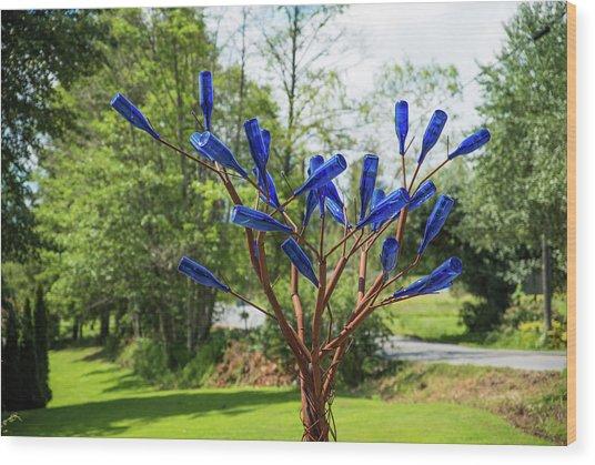 Brass Tree, Blue Bottle Leaves Wood Print