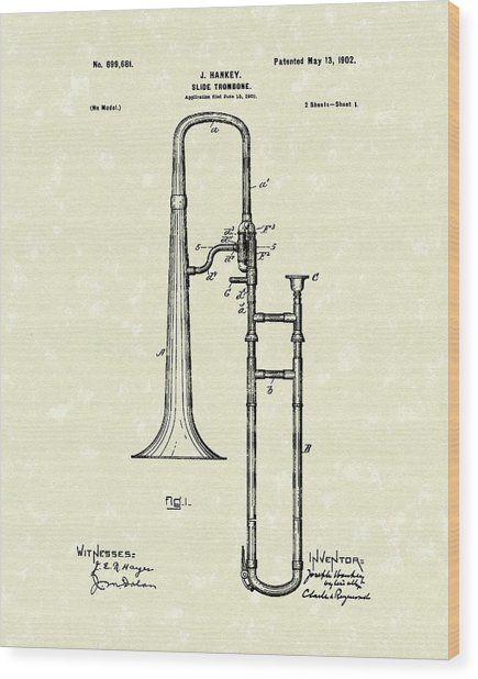 Brass Trombone Musical Instrument 1902 Patent Wood Print