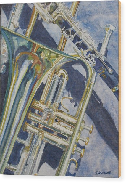 Brass Winds And Shadow Wood Print