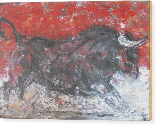 Brave Black Bull Wood Print