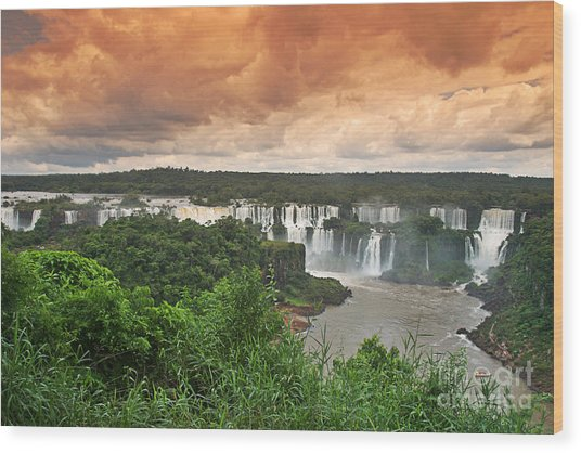 Wood Print featuring the photograph Brazil,iguazu Falls,spectacular View by Juergen Held