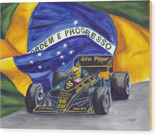 Brazil's Ayrton Senna Wood Print