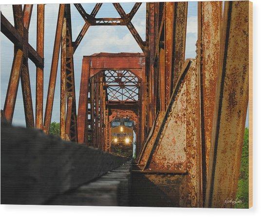 Brazos River Railroad Bridge Wood Print