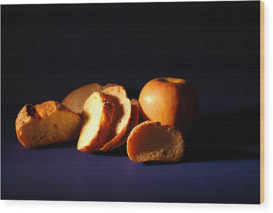Bread And Apple Wood Print by William Thomas
