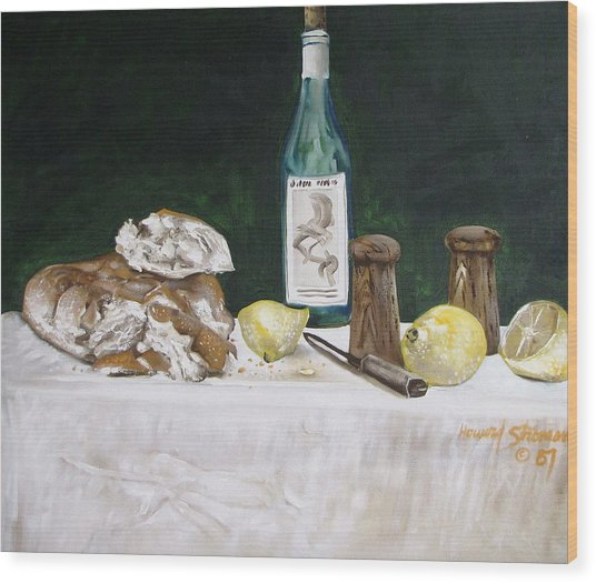 Bread And Wine Wood Print by Howard Stroman
