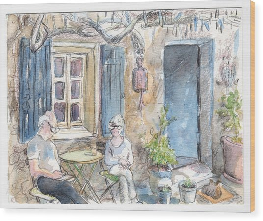 Breakfast Al Fresco Wood Print