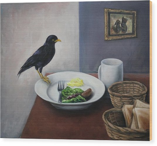 Breakfast At The Bird Park Wood Print by Michelle Barone