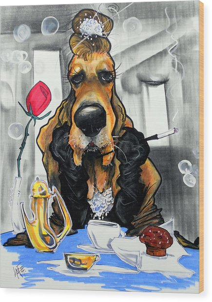 Breakfast At Tiffany's Basset Hound Caricature Art Print Wood Print