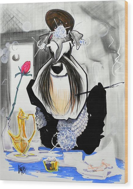 Breakfast At Tiffany's Schnauzer Caricature Wood Print