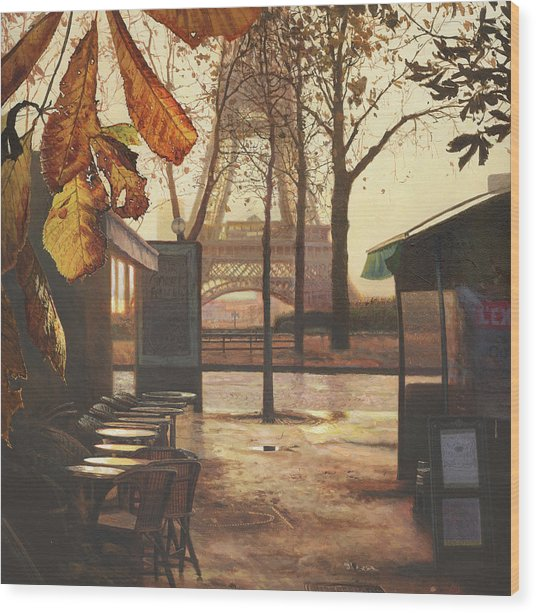 Breakfast In Paris Wood Print