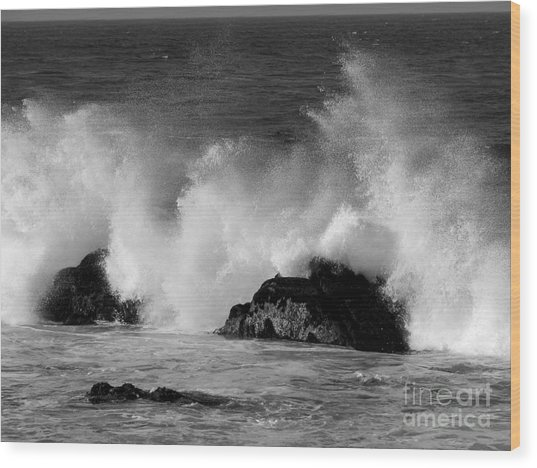 Breaking Wave At Pacific Grove Wood Print