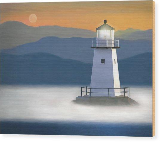 Breakwater Light Wood Print by James Charles