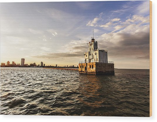 Breakwater Lighthouse Wood Print