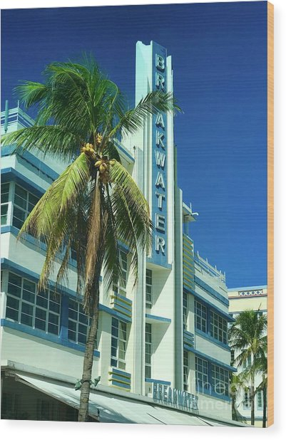 Breakwater Miami Beach Wood Print