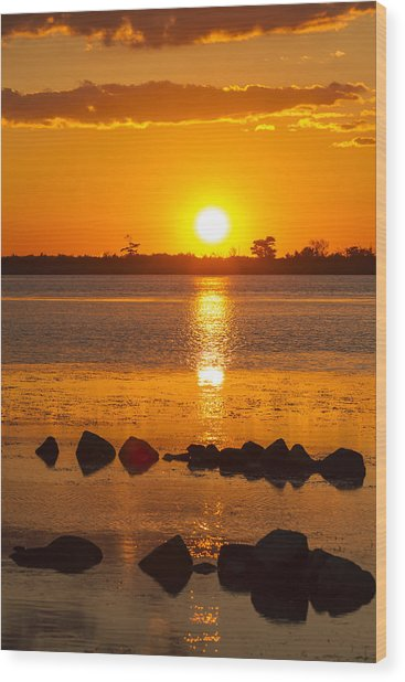 Breakwater Sunset Wood Print