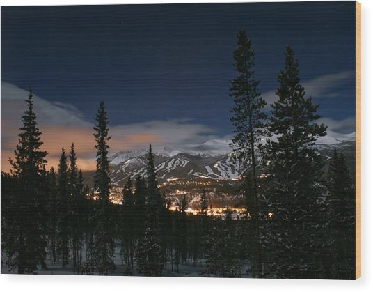 Breckenridge Moon Lit Night Wood Print