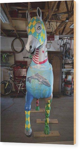 Breeders Cup Fiberglass Horse Front Wood Print