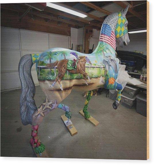 Breeders Cup Fiberglass Horse Right Back Wood Print
