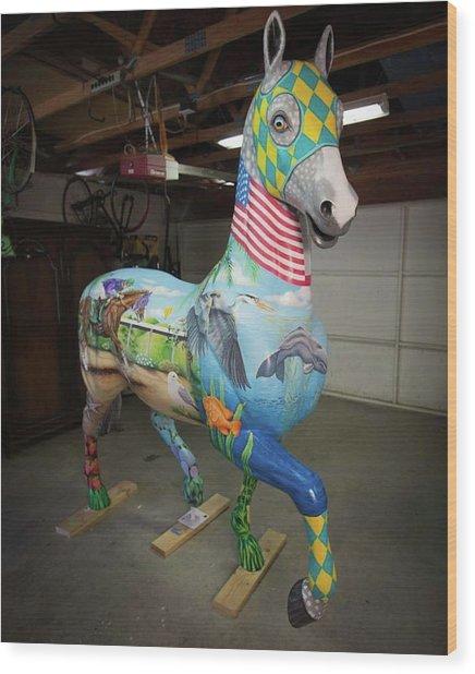 Breeders Cup Fiberglass Horsefront Right Wood Print