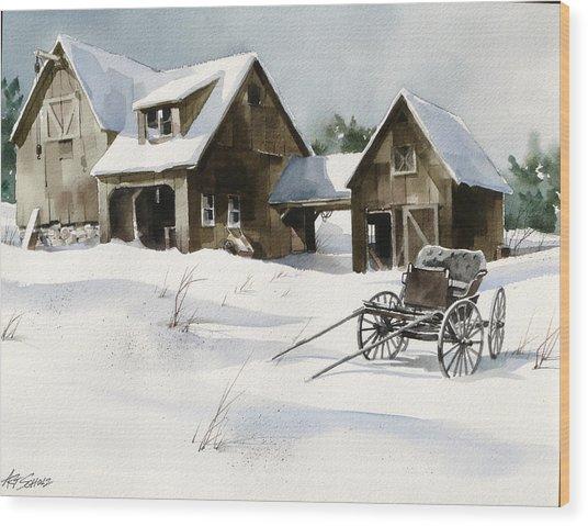 Breezy Barns 'n Buggy Wood Print by Art Scholz