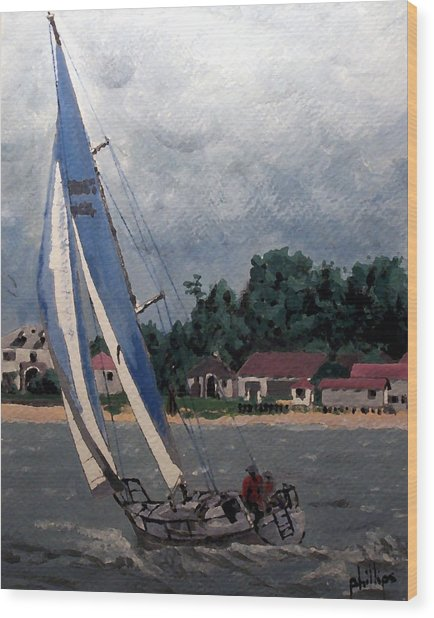Breezy Day At Sea Wood Print