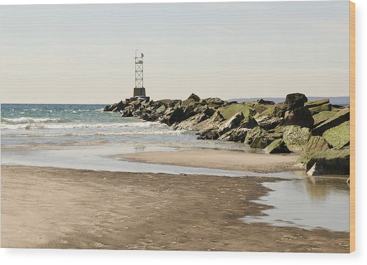 Breezy Point Jetty With Pools Wood Print