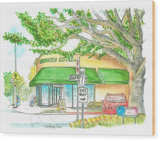 Starbucks Coffee In Brentwood, California Wood Print