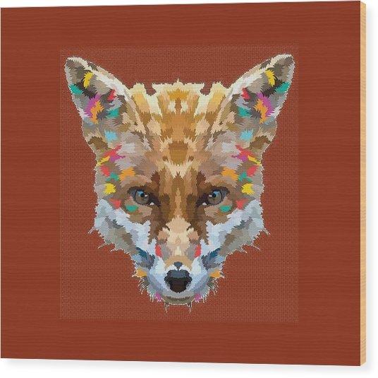 Brerr Fox T-shirt Wood Print