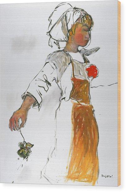 Breton Girl Wood Print