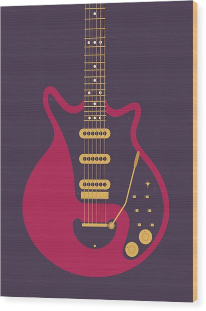 Red Special Guitar - Black Wood Print