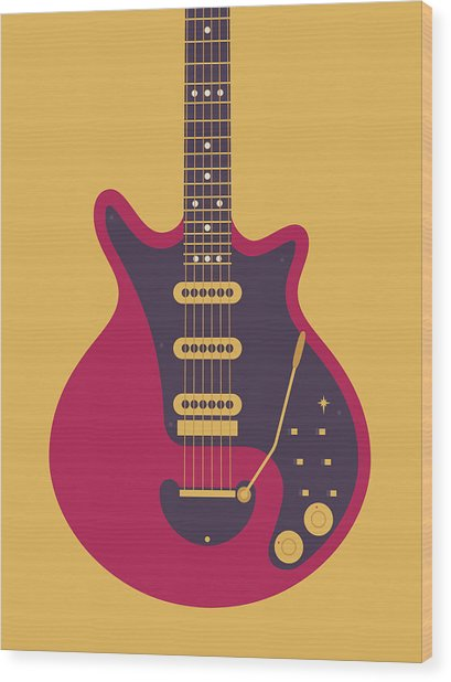 Red Special Guitar - Gold Wood Print