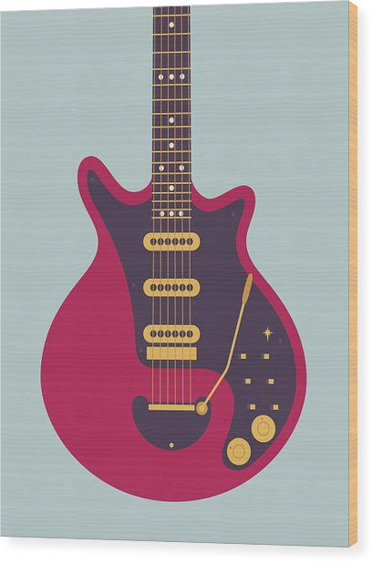 Red Special Guitar - Grey Wood Print