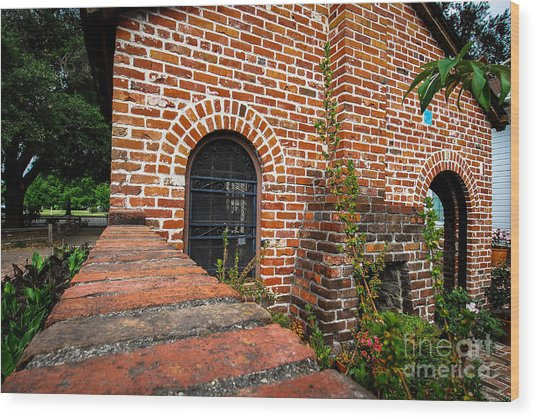 Brick Courtyard Wood Print