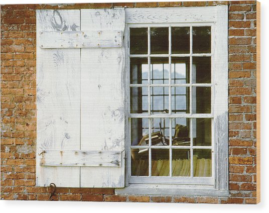 Brick Schoolhouse Window Photo Wood Print
