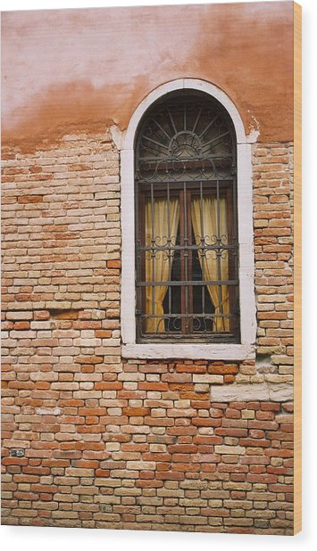 Brick Window Wood Print by Kathy Schumann