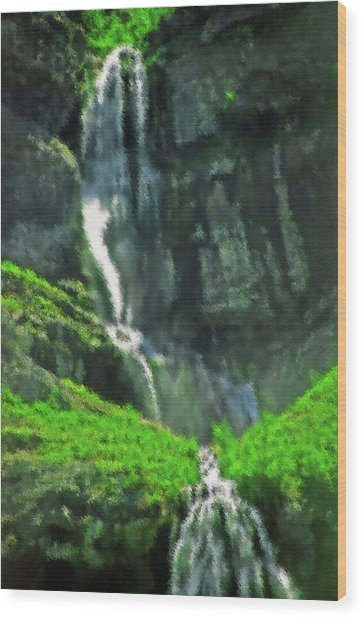 Bridal Veil Falls Canvas 1 Wood Print by Steve Ohlsen