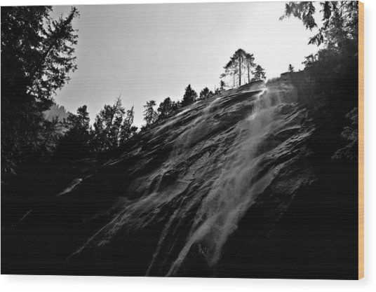 Bridal Veil Falls In Black And White Wood Print