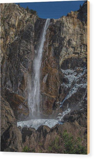 Bridal Veil Falls On Ice Wood Print