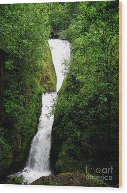 Bridal Veil Falls Wood Print by PJ  Cloud