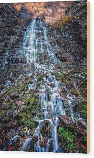 Bridal Veil Falls Utah Wood Print