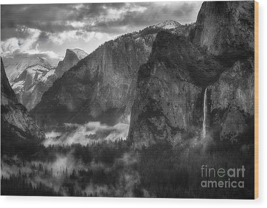 Bridalvail Falls And Half Dome Wood Print